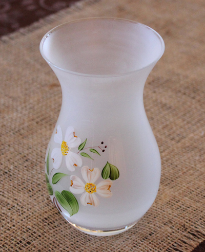 etched handpainted glass vase