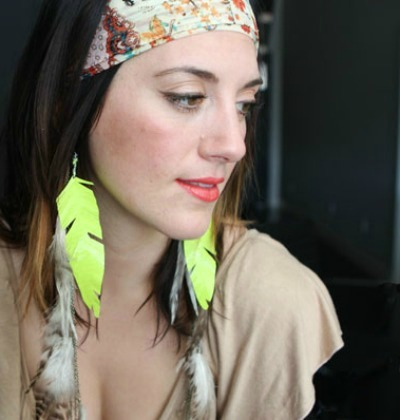 Neon Duct Tape Feather Earrings