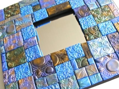 stamped clay tile mirror