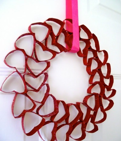 Toilet Paper Roll Heart Wreath