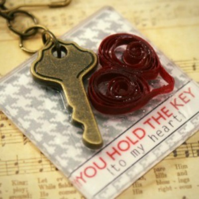 Quilled Heart Key Chain