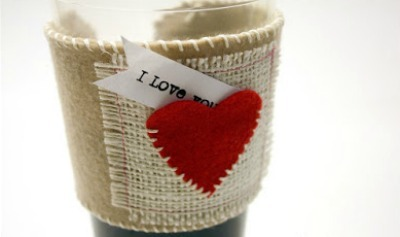 Embroidered Cup Sleeve with Heart Pocket