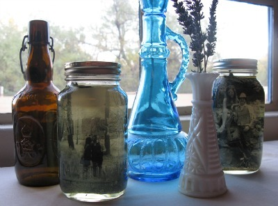 Vintage Photos in Mason Jars Preserved with Vegetable Oil