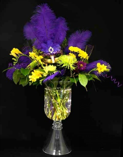 Mardi Gras Floral Arrangement with Aqua Lights