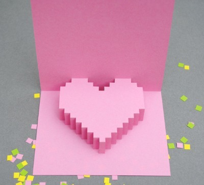 Pixelated Heart Pop-Up Card