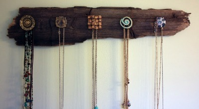 Driftwood drawer pulls Necklace Holder
