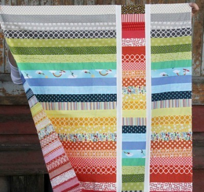 Rainbow modern strip quilt