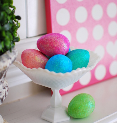 glitter mod podge easter eggs