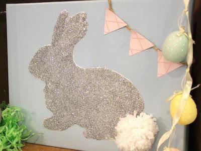 glitter bunny stencil canvas easter