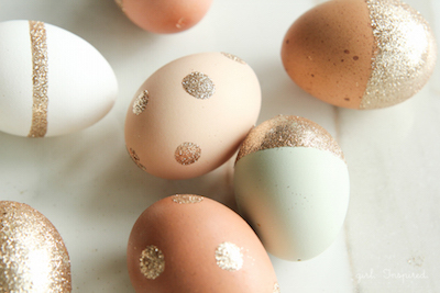 glitter polka dot easter eggs