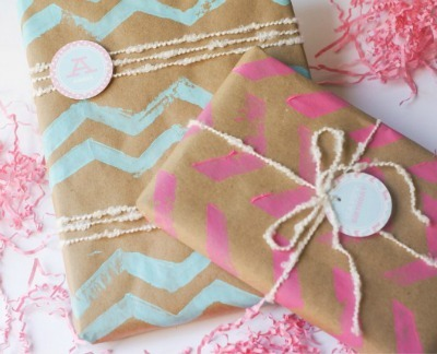 DIY printed gift wrap, DIY gift wrapping, chevron print wrapping paper