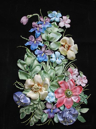 silk Ribbon flower embroidery technique