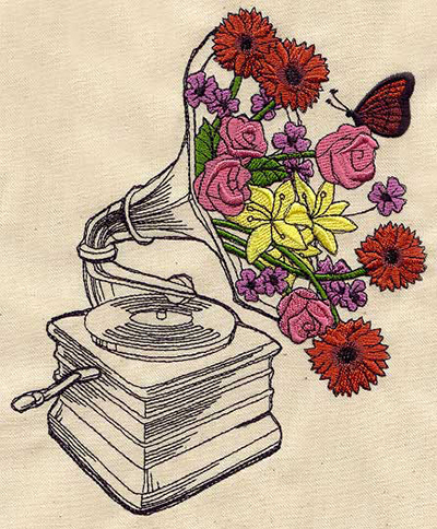 flower gramophone embroidery design