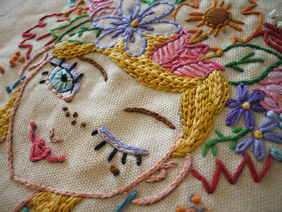 girl with flowers in hair embroidery pattern