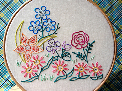 flower garden embroidery pattern