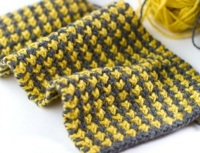 Mustard and Gray Houndstooth Scarf