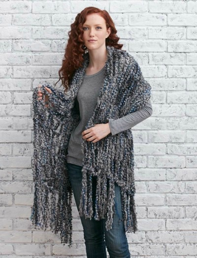 Arm Knit Fringed Wrap