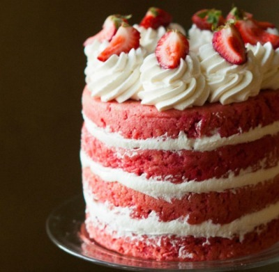 Strawberry three layer cake