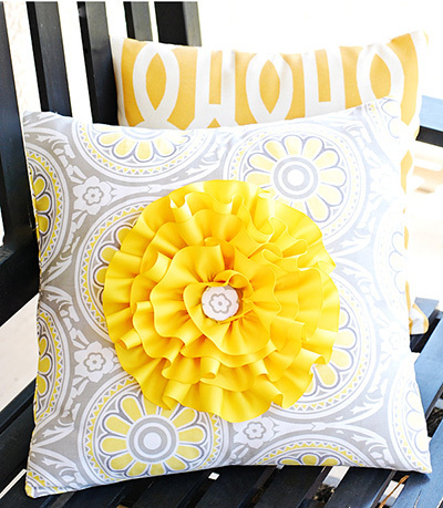 ribbon flower pillow
