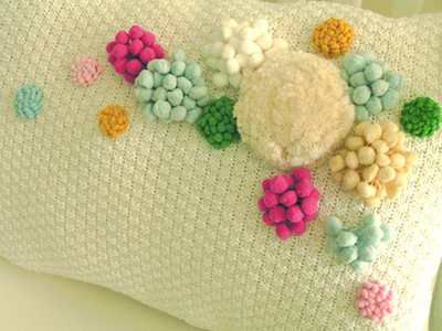 pom-pom flower pillow