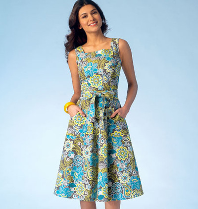 sleeveless dress pattern with belt and pockets