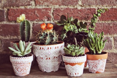 Lace-Adorned Flower Pots
