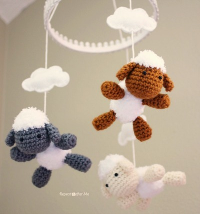 DIY Baby Mobile, Crochet Lambs, Crochet Baby Mobile, DIY Lamb Mobile