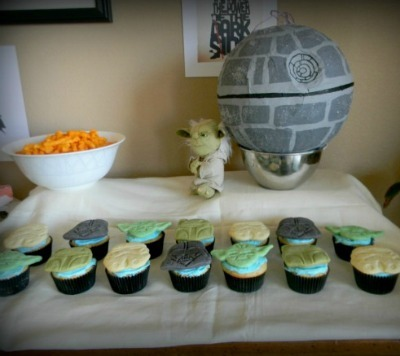 Death Star Pinata and Star Wars Cupcakes