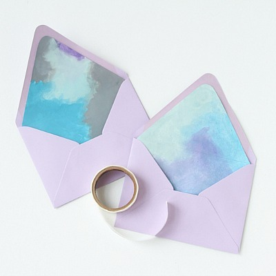 DIY Watercolor Envelope, DIY Envelope Liner