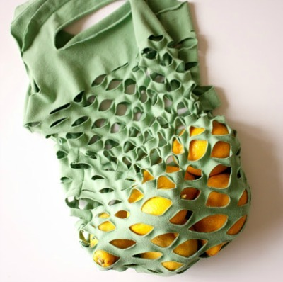 Reusable produce bag made from tee-shirt