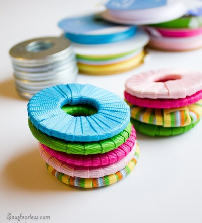Ribbon Covered Washers, DIY Sewing Hack