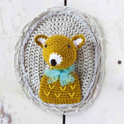 mounted crochet wolf portrait
