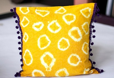 Tie-Dye Pillow with Pom-Pom Edging