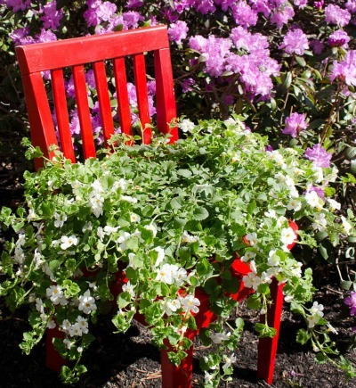 Chair-Seat Flower Planter