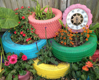 Upcycled Stacked-Tire Garden Bed