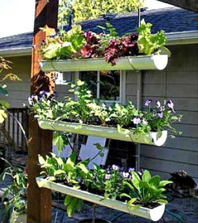 Hanging Gutter Garden Bed