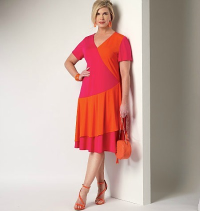 Color-Blocked Two-Tiered, Short-Sleeved Wrap Dress