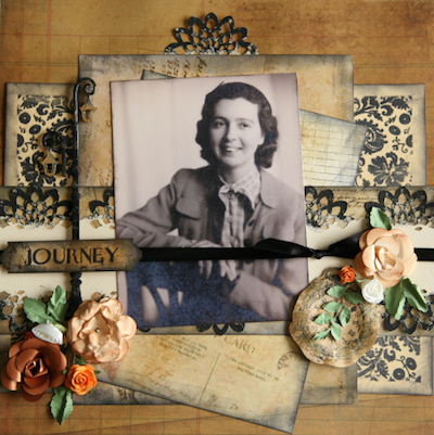 vintage photo scrapbook layout