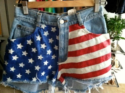 American-Flag Denim Shorts