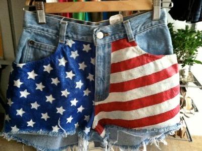 American-Flag Denim Shorts