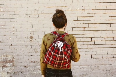 Restyled Plaid Backpack