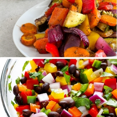 rainbow roasted vegetables and salsa