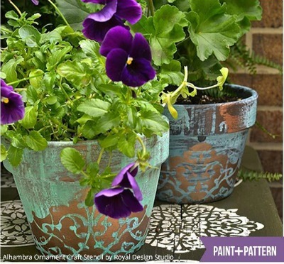 DIY Decorated Potter, DIY Painted Clay Pot, Clay Pot Vintage Patina, DIY Outdoor Summer Crafts