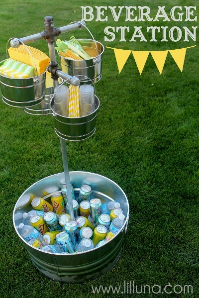 DIY Beverage Station, DIY Outdoor Summer Crafts, DIY Party Decor Projects