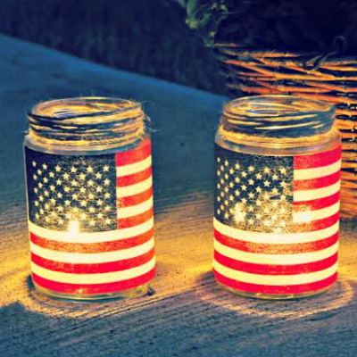 flag candles for July Fourth
