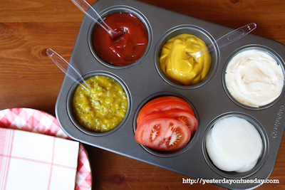 Condiments in muffin tin