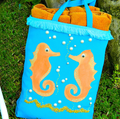 seashorse beach tote bag tutorial