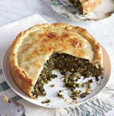 spinach pie with grape leaves recipe