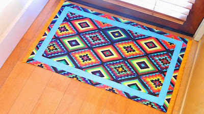 painted no-sew fabric floor mat