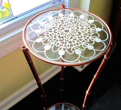 stenciled glass plant stand